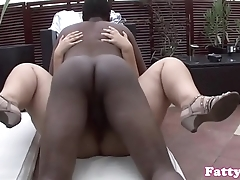 Curvy BBW interracially screwed outdoors