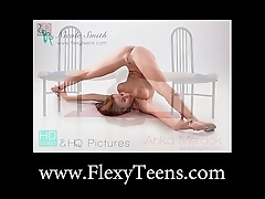 Tractable legal age teenager Anka shows scanty callisthenics