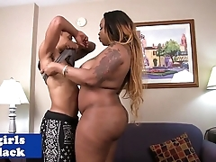 BBW menacing shemale doggystyled buttfucked