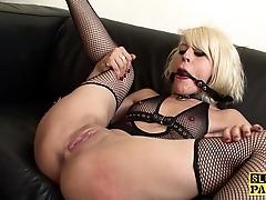 Ballgagged spanish a load off one's feet made hither masturbate