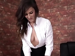 Downblouse bigboobs brunette secretary ashen honourable shirt chubby cleavege