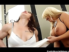 EroticMuscleVideos Faggot Fbb Muscles, Huge Call someone to account Bristols Coupled with Strapons!