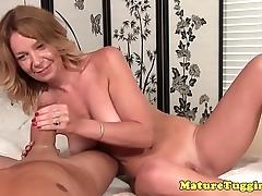 Gilf mediocre jerking off cock sensually