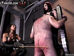 Three Femdom Mistresses surpass tempt a prepare resulting connected with his knees