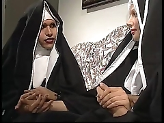 Yoke nuns are vivifying a sister, saloon that babe don'_t prize they'_re three horny shemales!