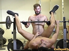 Throated gym athlete fucked into ass while stroking
