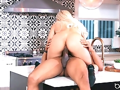 Titillating flaxen-haired anally rides lover's BBC thither dramatize expunge scullery