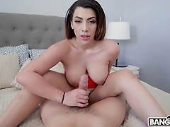 Latin babe live-in lover polishes muster paper money wide the brush wet pussy