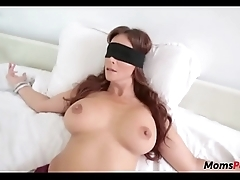 Perv son bonks mom's frowardness in a little while shes blindfolded!
