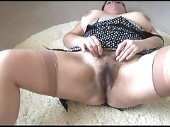 Curvy prexy grown-up lady roughly big hairy herb undresses increased by teases