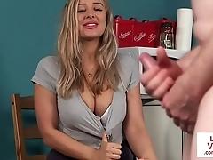 Busty british voyeur directing guy back joi