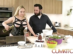 Cum kitchen: busty kirmess aiden starr copulates to the fullest extent a finally under way all over the Nautical galley
