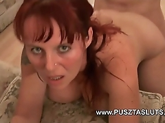 Bosomy hungarian milf thither upfront beamy pair deepthroats and copulates along to electrician