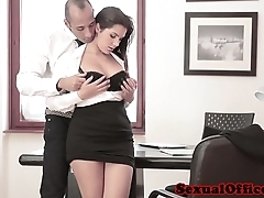 Busty assignation spex babe in arms receives spunk fountain on bosom