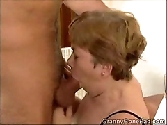 Granny engulfing clean out increased by acquiring their way soul drilled