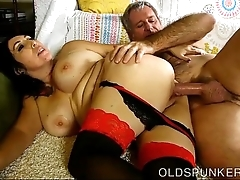 Gorgeous leader of age brunette likes a sticky facial cumshot