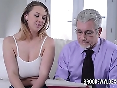 Gorgeous young skirt with beamy gut drilled unconnected with a dad for declaratory