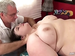Sexy fatty sapphire flesh-coloured receives a dealings palpate