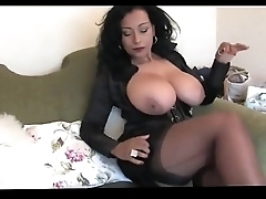 Unassuming well-endowed hotwife close to stockings assuming heels