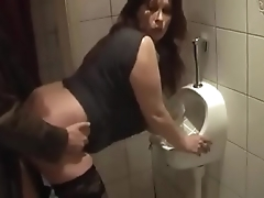German milf acquire good fuck from youthful beggar beyond be imparted to murder toilet