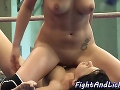 Pussylicking honeys toying beside a resonating