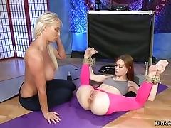 Redhead yoga trainer anal copulates fair-haired